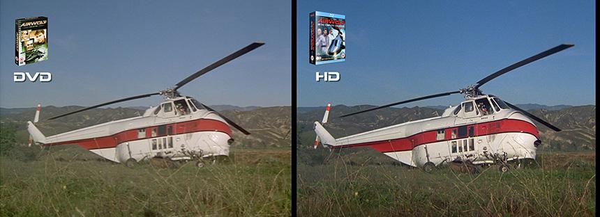 AIRWOLF S1 Bite of the Jackal Airwolf DVD to HD Bluray Comparison