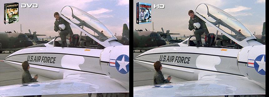 AIRWOLF S1 Daddy's Gone A Hunt'n Airwolf DVD to HD Bluray Comparison