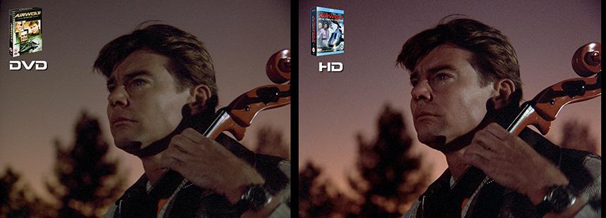 AIRWOLF S1 Pilot Airwolf DVD to HD Bluray Comparison