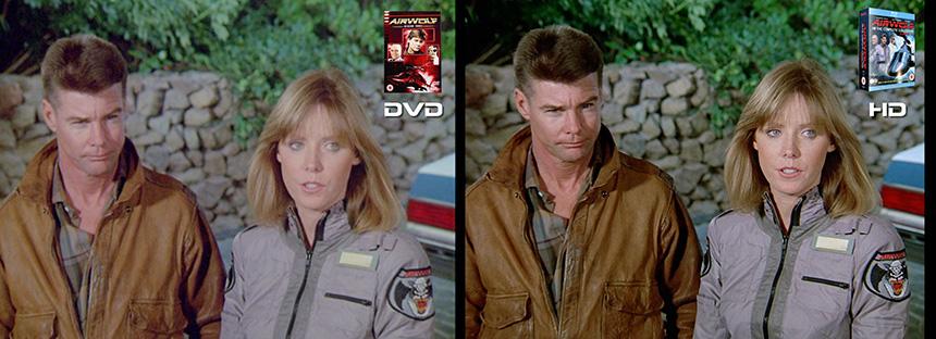 AIRWOLF S3 Wildfire Airwolf DVD to HD Bluray Comparison